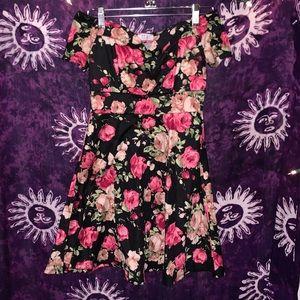 Yobi Off-Shoulder Rose Dress